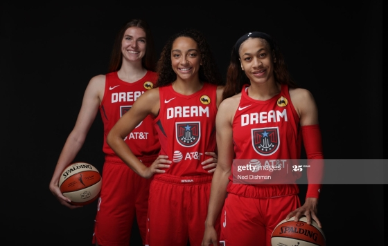 Atlanta Dream rookies Chennedy Carter, Jaylyn Agnew and Brittany Brewer.